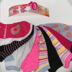 NWT 10 pairs Chatties low cut socks 9-11,shoe 4-10